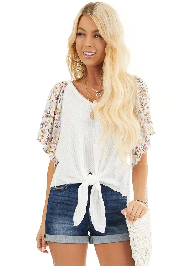Ivory Waffle Knit Top with Floral Sleeves and Front Tie front close up
