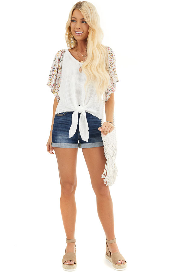 Ivory Waffle Knit Top with Floral Sleeves and Front Tie front full body