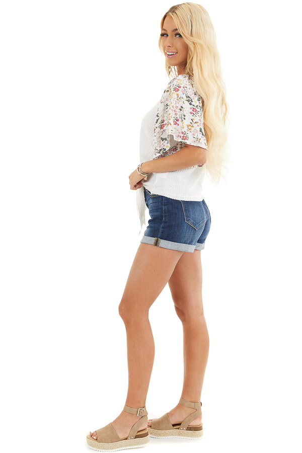 Ivory Waffle Knit Top with Floral Sleeves and Front Tie side full body