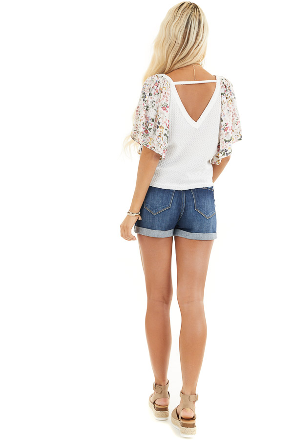 Ivory Waffle Knit Top with Floral Sleeves and Front Tie back full body