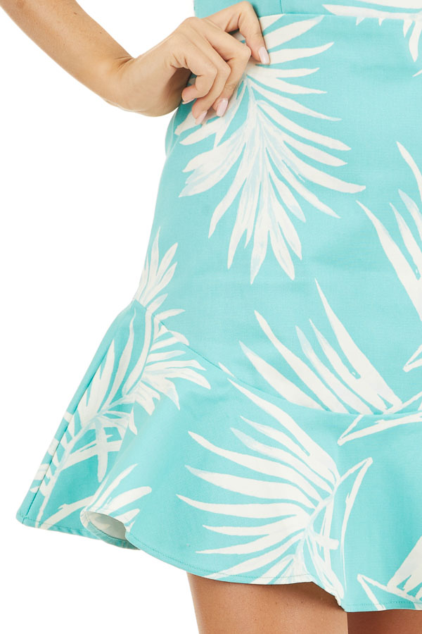 Turquoise Tropical Print Mini Dress with Sweetheart Neckline detail