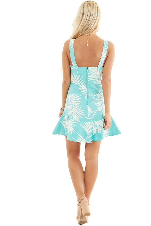 Turquoise Tropical Print Mini Dress with Sweetheart Neckline back full body