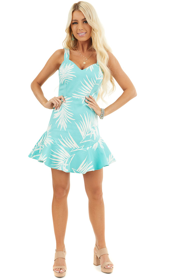 Turquoise Tropical Print Mini Dress with Sweetheart Neckline front full body