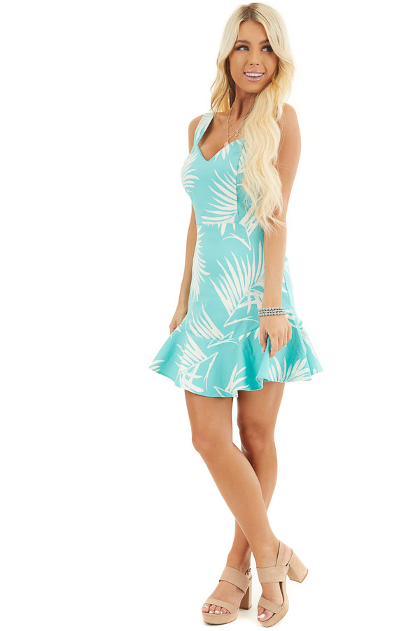 Turquoise Tropical Print Mini Dress with Sweetheart Neckline side full body