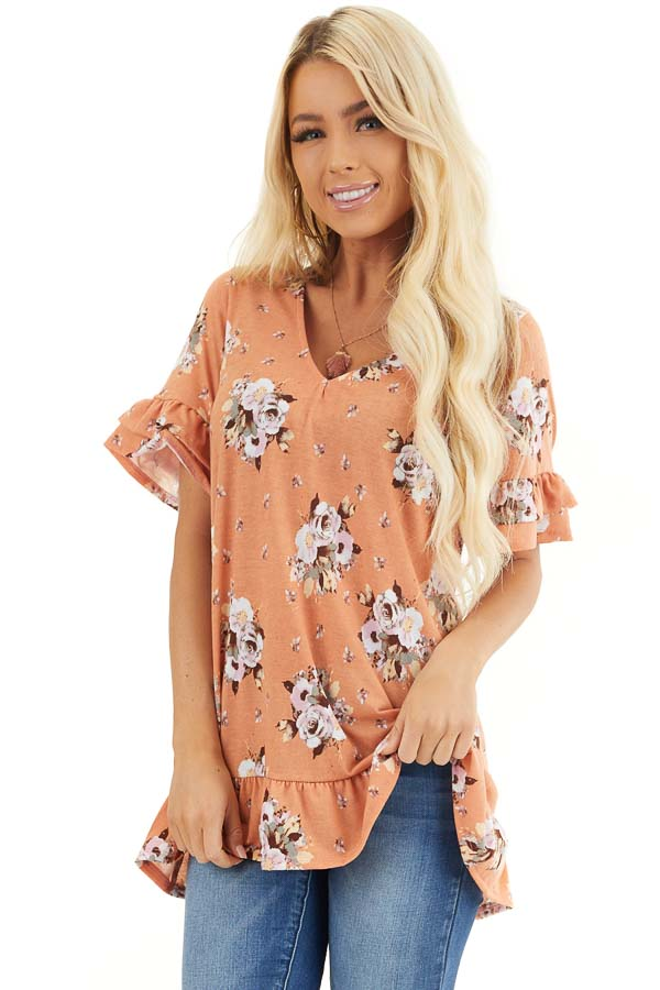 Tangerine Floral Print Tunic Top with Ruffle Details front close up