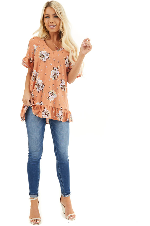 Tangerine Floral Print Tunic Top with Ruffle Details front full body