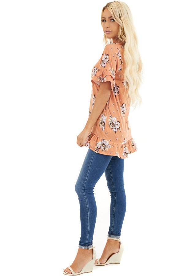 Tangerine Floral Print Tunic Top with Ruffle Details side full body