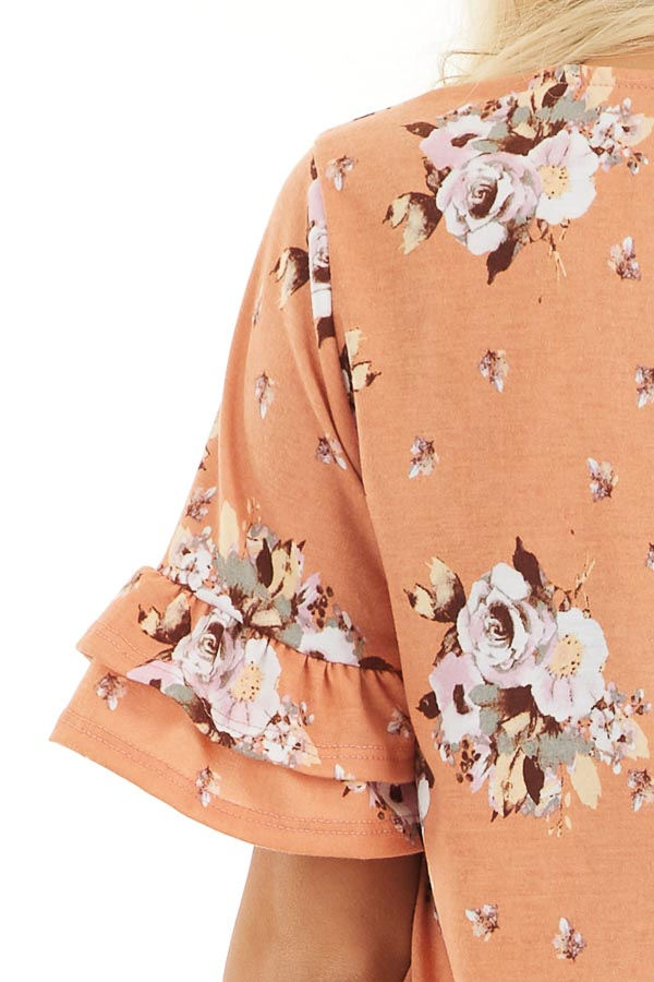 Tangerine Floral Print Tunic Top with Ruffle Details detail