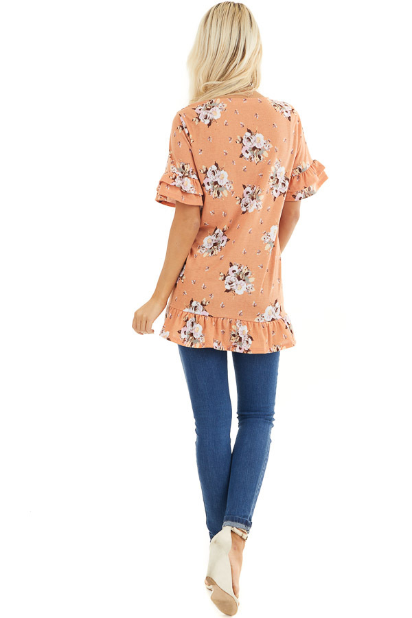 Tangerine Floral Print Tunic Top with Ruffle Details back full body
