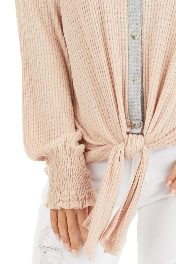 Blush Waffle Knit Button Up Top with Snake Print Contrast detail
