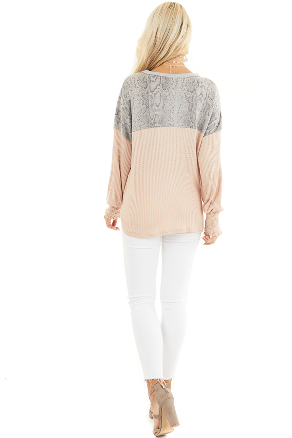 Blush Waffle Knit Button Up Top with Snake Print Contrast back full body