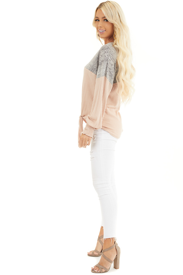 Blush Waffle Knit Button Up Top with Snake Print Contrast side full body