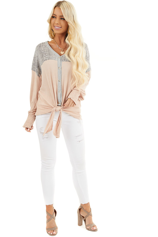 Blush Waffle Knit Button Up Top with Snake Print Contrast front full body