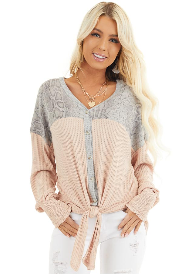 Blush Waffle Knit Button Up Top with Snake Print Contrast front close up