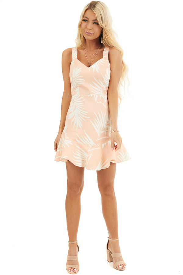Peach Tropical Print Mini Dress with Sweetheart Neckline front full body
