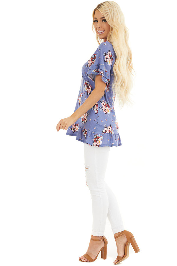 Purple Floral Print Tunic Top with Ruffle Details side full body