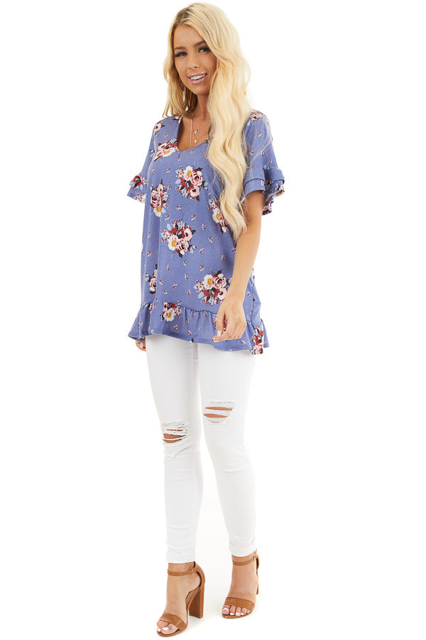 Purple Floral Print Tunic Top with Ruffle Details front full body
