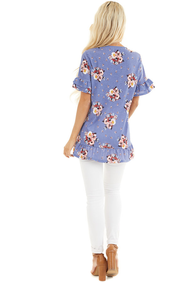Purple Floral Print Tunic Top with Ruffle Details back full body