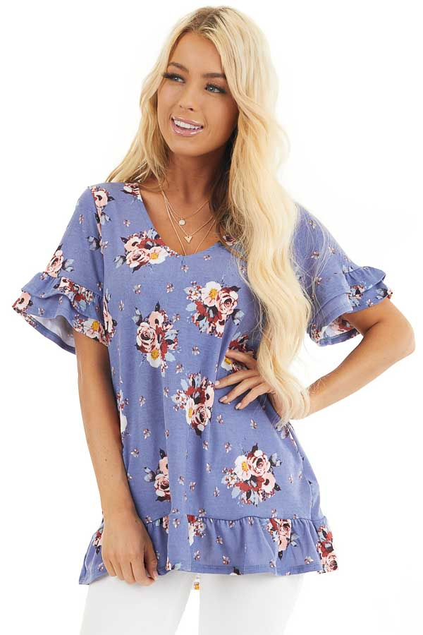 Purple Floral Print Tunic Top with Ruffle Details front close up