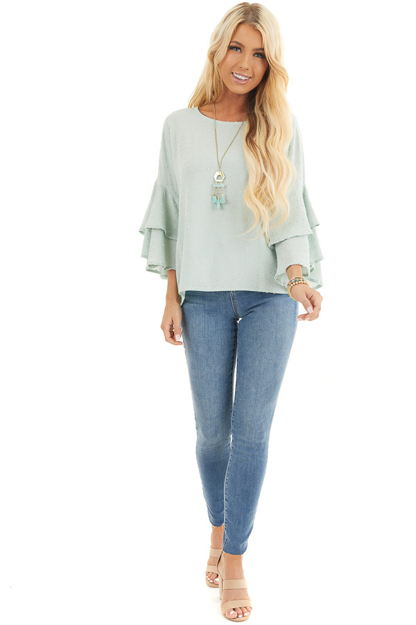 Sage Green Swiss Dot Top with 3/4 Sleeves and Ruffle Detail front full body