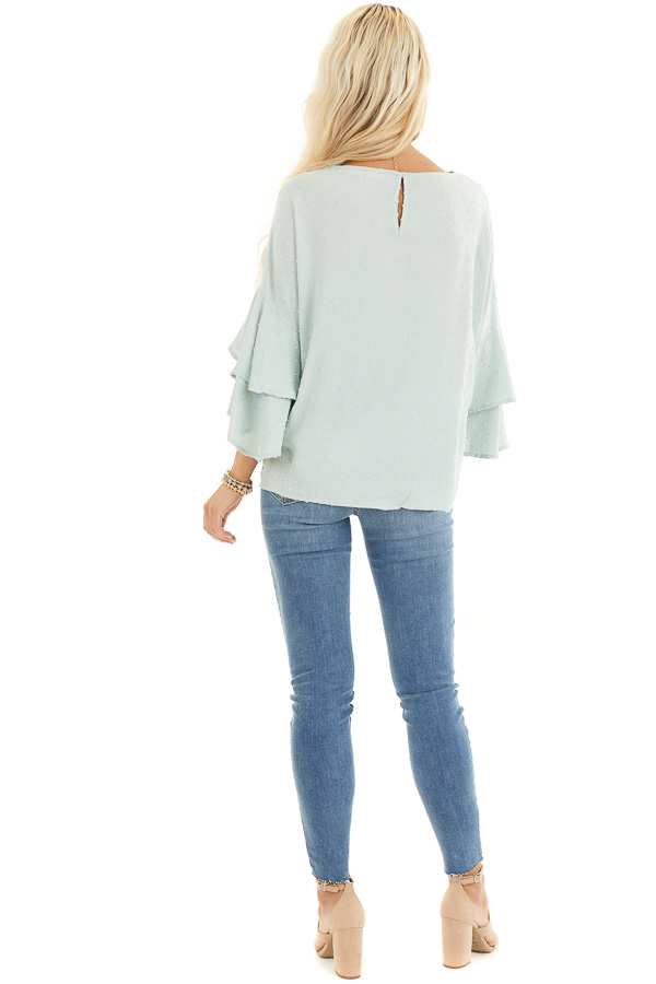 Sage Green Swiss Dot Top with 3/4 Sleeves and Ruffle Detail back full body