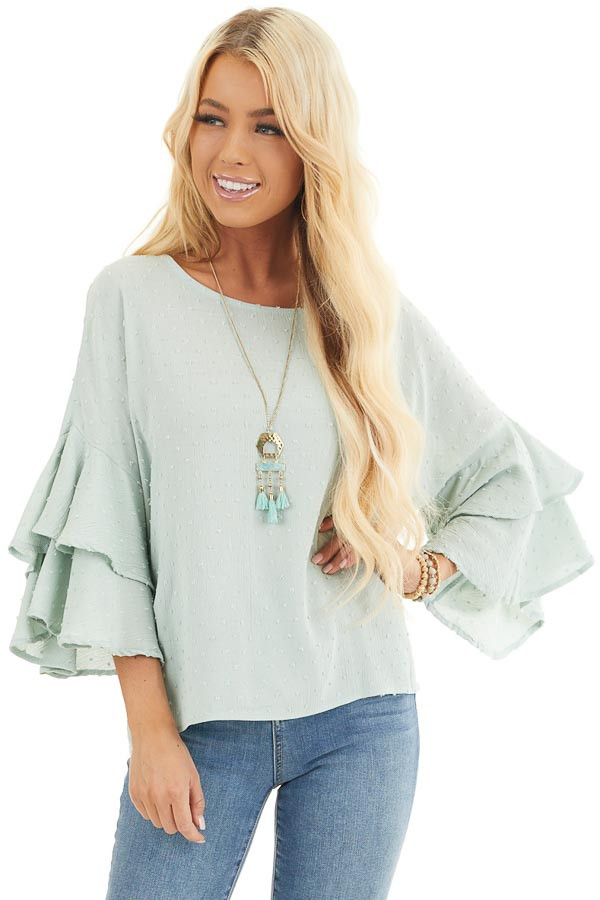 Sage Green Swiss Dot Top with 3/4 Sleeves and Ruffle Detail front close up