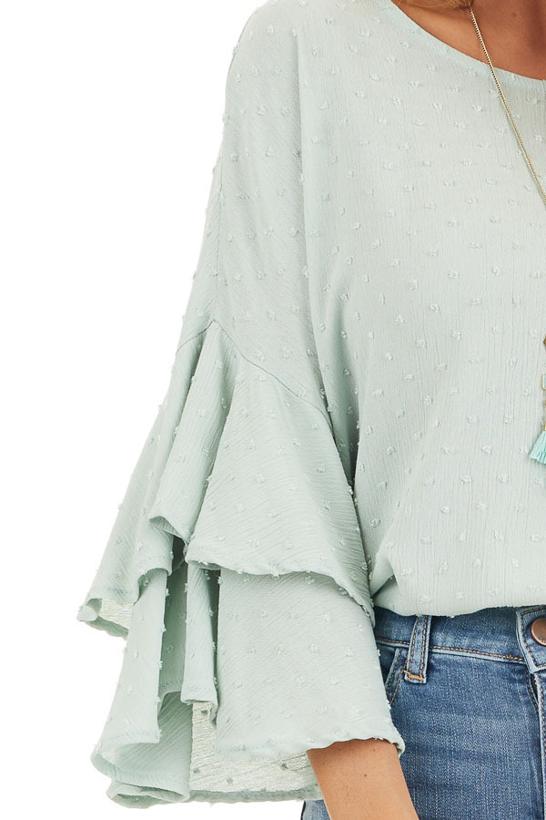 Sage Green Swiss Dot Top with 3/4 Sleeves and Ruffle Detail detail
