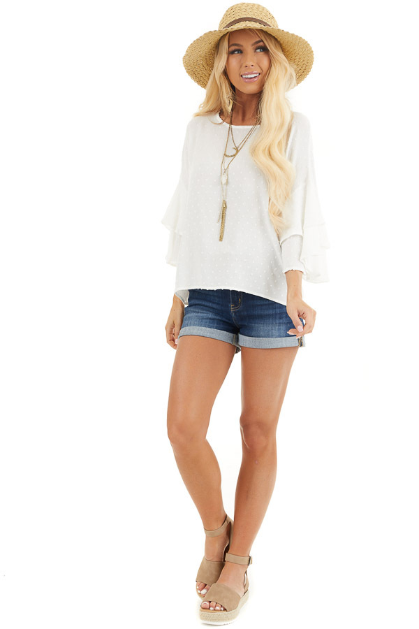 Off White Swiss Dot Top with 3/4 Sleeves and Ruffle Detail front full body