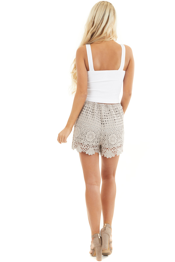White V Neck Ribbed Knit Crop Top back full body