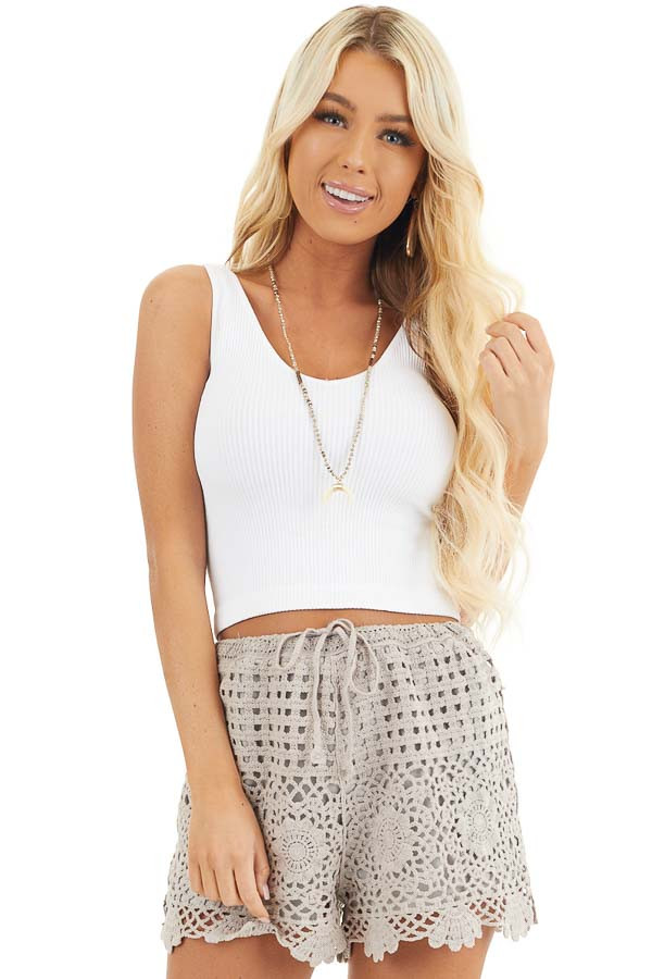 White V Neck Ribbed Knit Crop Top front close up