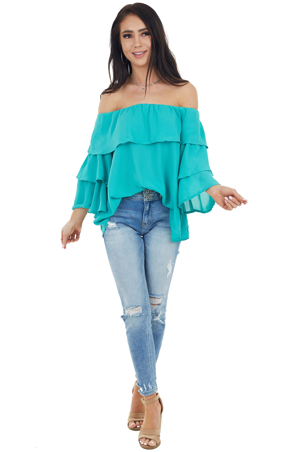 Aqua Off the Shoulder Flowy Top with Ruffled Sleeves