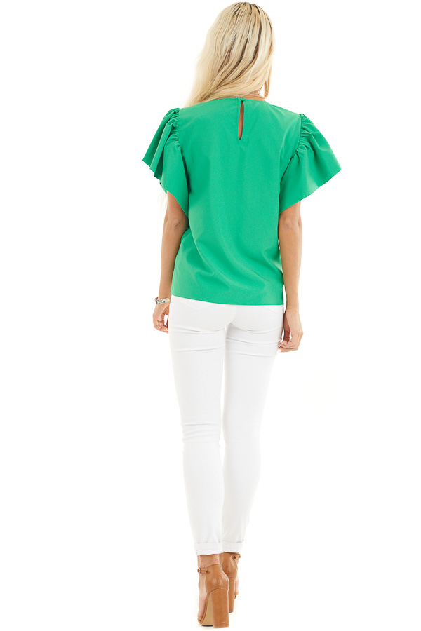 Kelly Green Woven Blouse with Flared Ruffle Short Sleeves back full body
