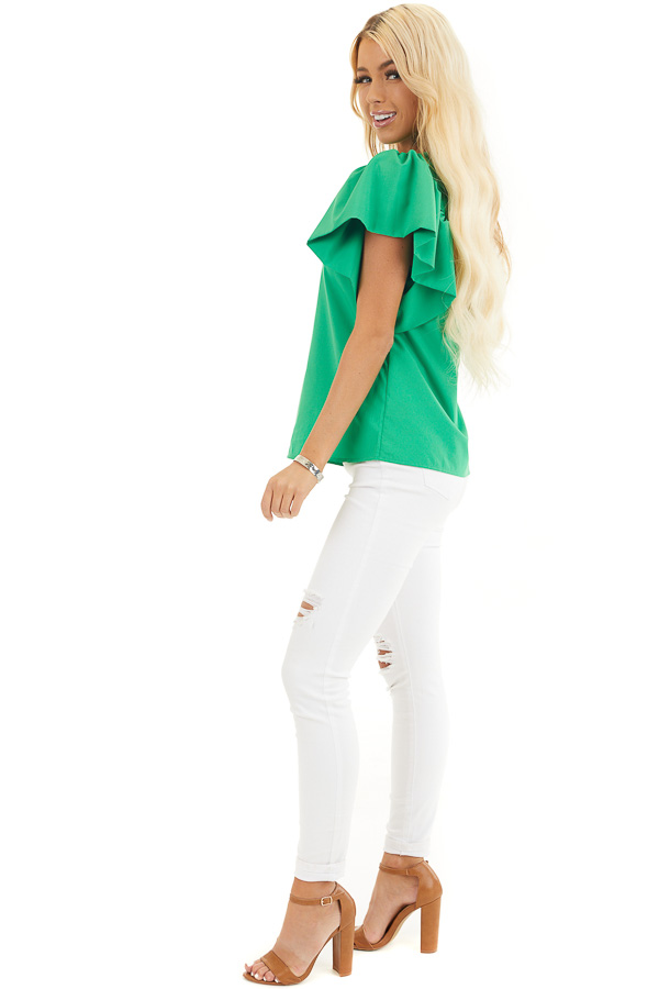Kelly Green Woven Blouse with Flared Ruffle Short Sleeves side full body