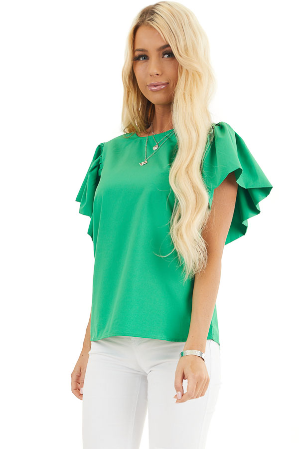 Kelly Green Woven Blouse with Flared Ruffle Short Sleeves front close up