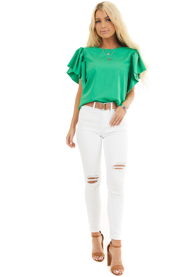 Kelly Green Woven Blouse with Flared Ruffle Short Sleeves front full body