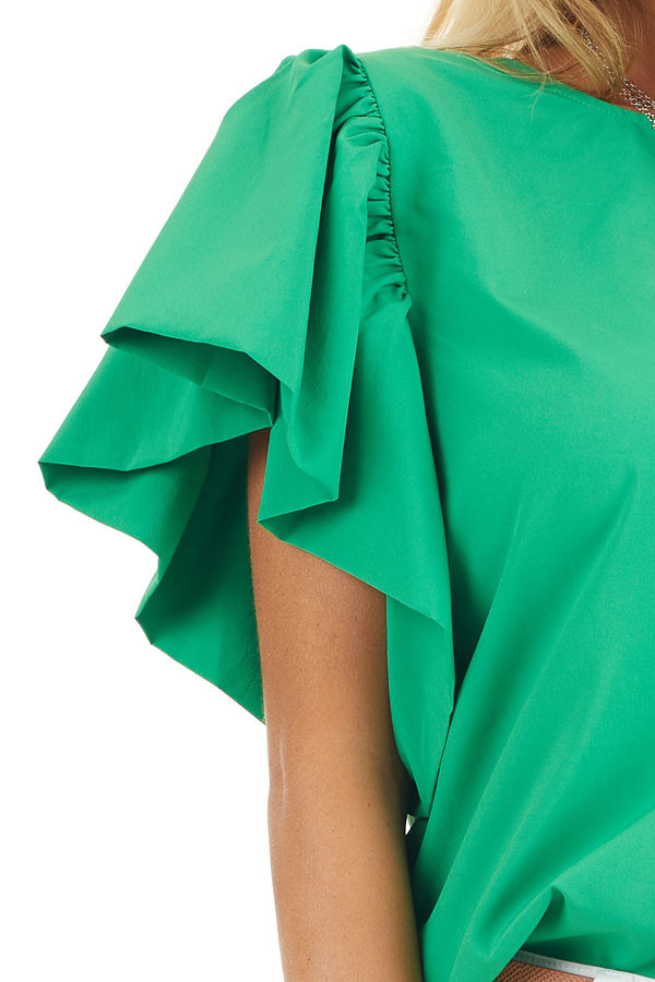 Kelly Green Woven Blouse with Flared Ruffle Short Sleeves detail