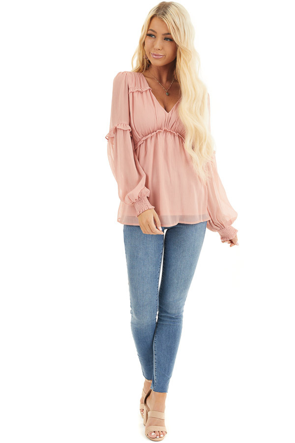 Dusty Blush Long Sleeve Sheer Blouse with Ruffle Details front full body