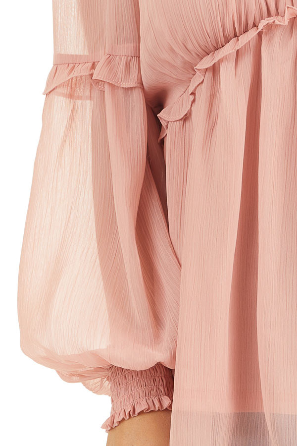 Dusty Blush Long Sleeve Sheer Blouse with Ruffle Details detail