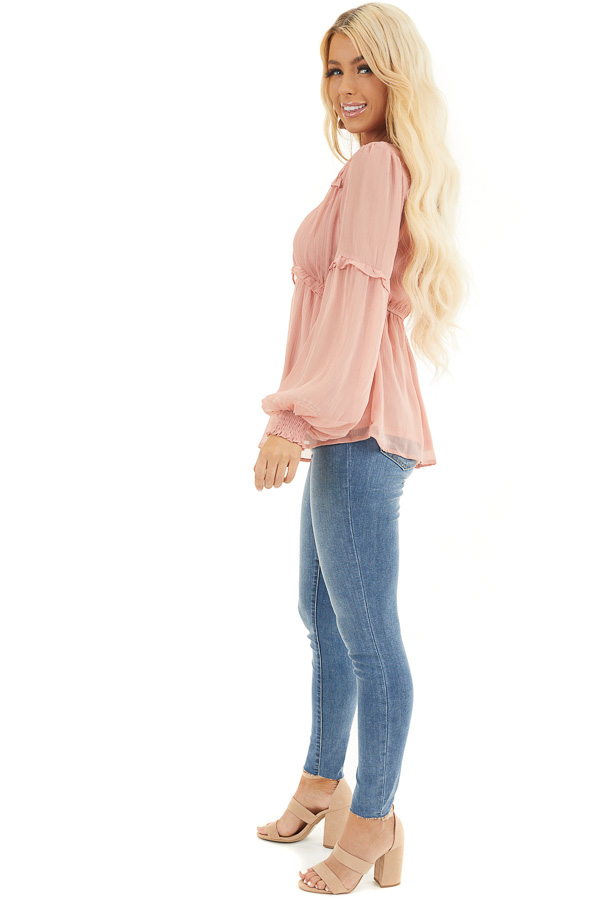 Dusty Blush Long Sleeve Sheer Blouse with Ruffle Details side full body