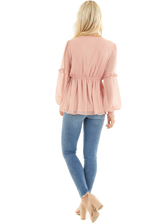 Dusty Blush Long Sleeve Sheer Blouse with Ruffle Details back full body