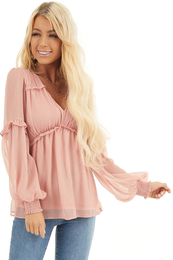 Dusty Blush Long Sleeve Sheer Blouse with Ruffle Details front close up