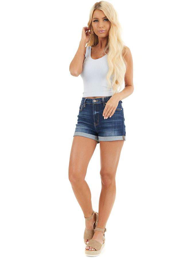 Pale Slate Blue V Neck Ribbed Knit Crop Top front full body