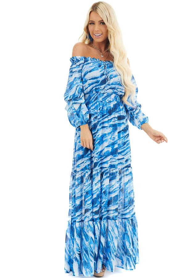 Cobalt Blue Abstract Print Off Shoulder Tiered Maxi Dress front full body
