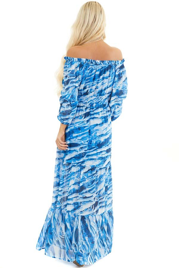 Cobalt Blue Abstract Print Off Shoulder Tiered Maxi Dress back full body