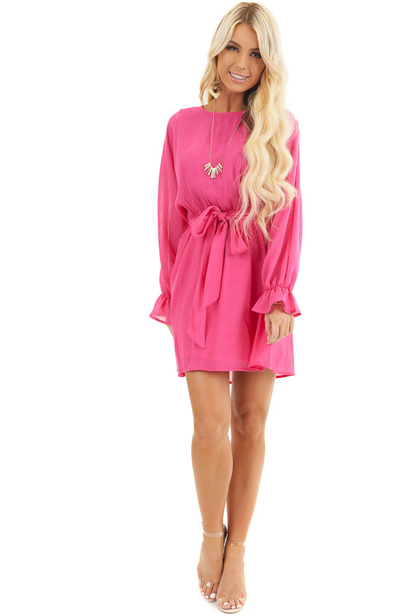 Hot Pink Long Sleeve Mini Dress with Waist Tie front full body