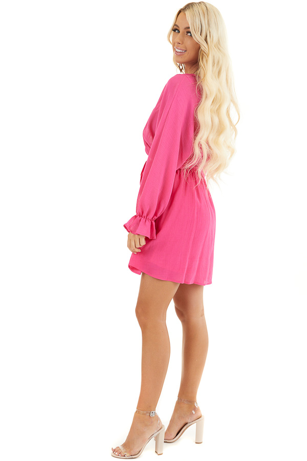 Hot Pink Long Sleeve Mini Dress with Waist Tie side full body
