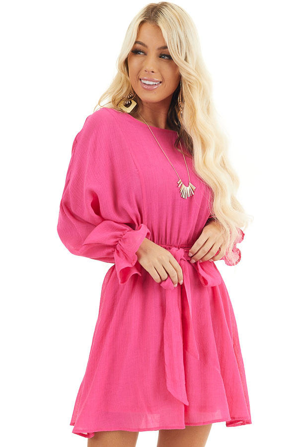 Hot Pink Long Sleeve Mini Dress with Waist Tie front close up