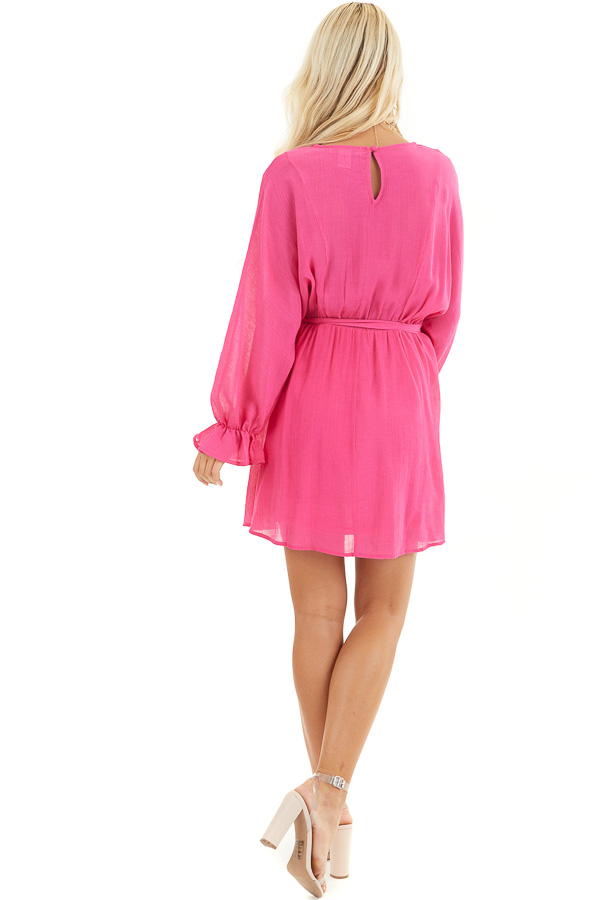 Hot Pink Long Sleeve Mini Dress with Waist Tie back full body