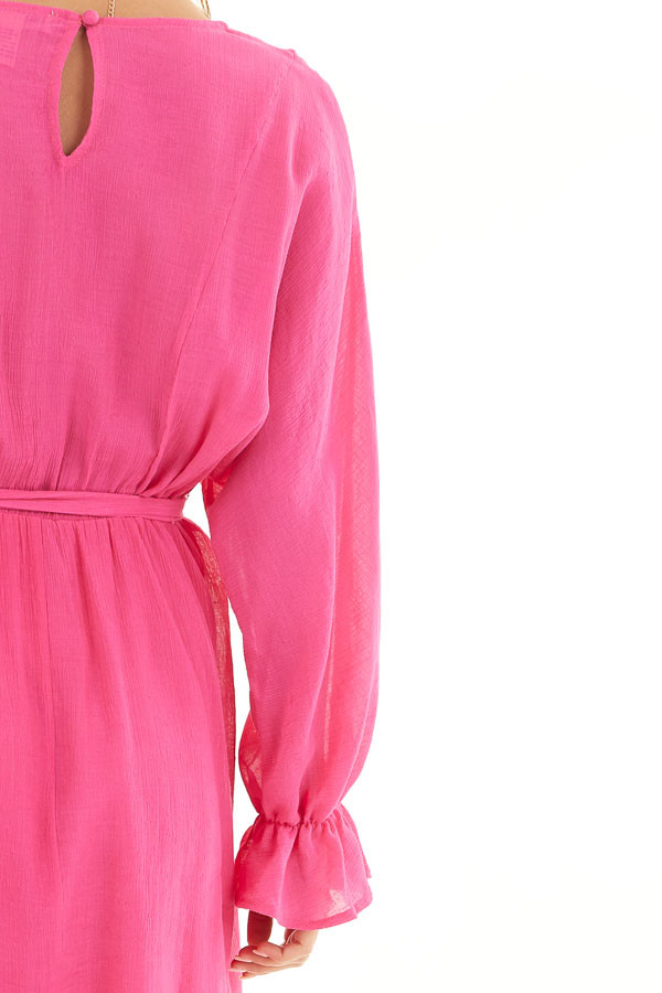 Hot Pink Long Sleeve Mini Dress with Waist Tie detail