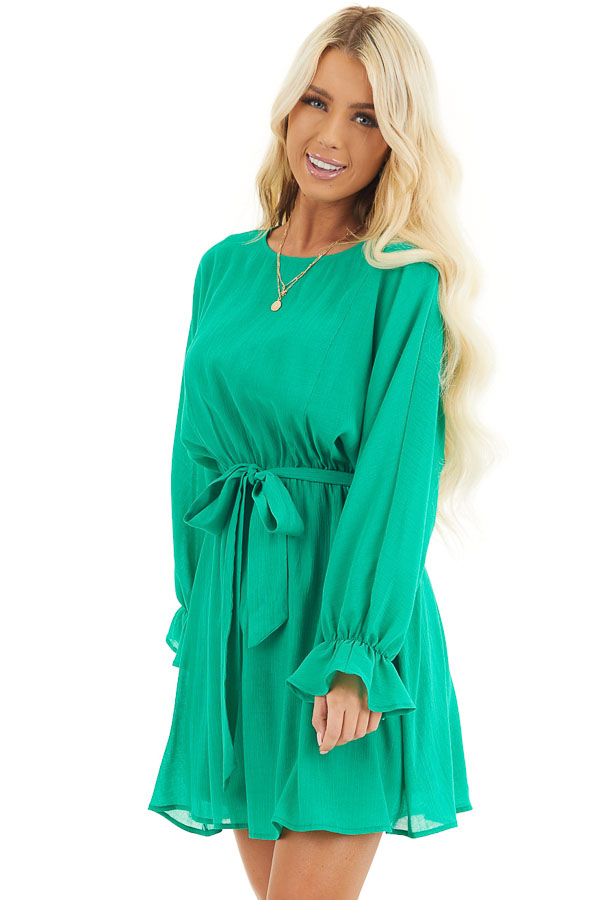 Kelly Green Long Sleeve Mini Dress with Waist Tie front close up
